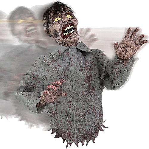 [Bump And Go Animated Rolling Zombie Prop Halloween Decoration With Sounds] (Zombie Baby Halloween Prop)
