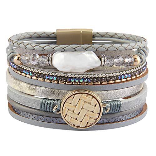 (joymiao Womens Leather Wrap Bracelet with Baroque Pearl Charm Bangle Crystal Cuff Bracelets Handmade Boho Jewelry for Teen Girls, Sister, Mother, Wife)