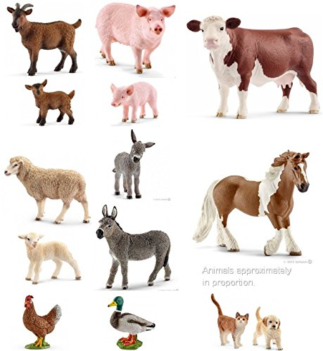 (Large Set of 14 Traditional SCHLEICH FARM Animals Including Goats, Donkeys, Cat and Dog, Pigs, Chicken, Sheep, Lamb, and more. Extra large set.)