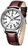 BUREI Men's Day Date Automatic Watch with White Dial Brown Calfskin Leather