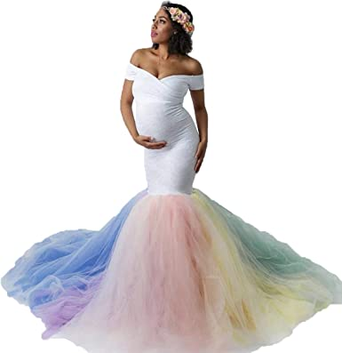 Hihcbf Rainbow Tulle Maternity Dress For Photoshoot Baby Shower Wedding Off Shoulder Sweetheart Lace Mermaid Gown W Train At Amazon Women S Clothing Store