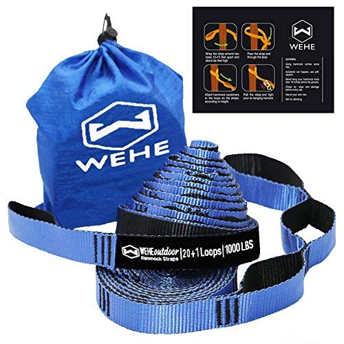 WEHE Hammock Straps Extra Strong & Lightweight,40 Loops 2000LBS Breaking Strength,100% No Stretch Polyester,Tree Friendly,Quick&Easy Setup Best Suspension System