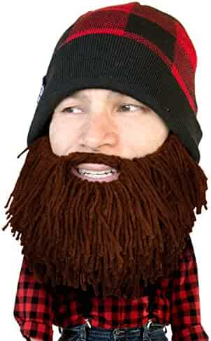c0b72f6a6c7799 Beard Head Plaid Lumberjack Beard Beanie -Funny Knit Hat and Fake Beard  Facemask