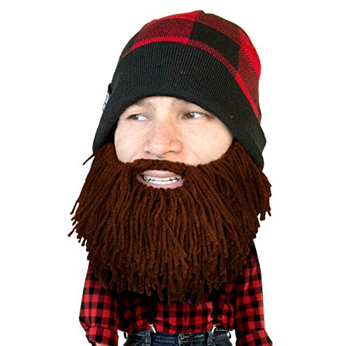 Beard Head Plaid Lumberjack Beard Beanie -Funny Knit Hat and Fake Beard Facemask -