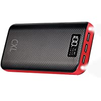 CXLiy 24000mAh Portable Power Bank with 3 USB Charging Ports & LCD Display (Red)