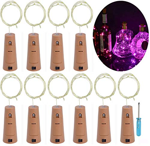 LRCXL Set of 10 Wine Bottle Cork Lights - 18inch/ 47cm 10 LED Silver Wire Lights String Starry LED Lights for Bottle DIY, Halloween Party, Christmas, Wedding Decoration -
