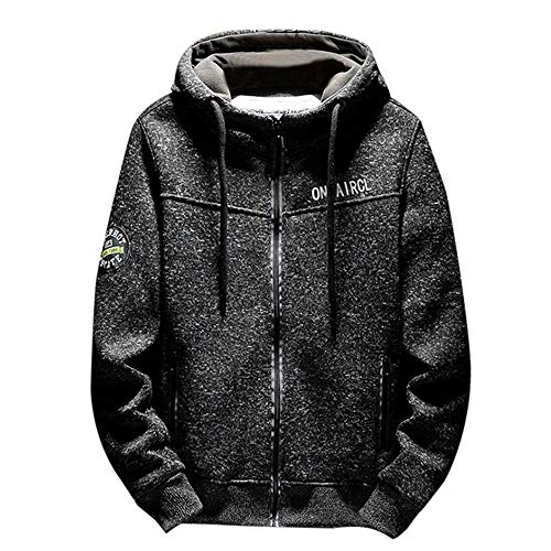 - Xturfuo Men's Solid Color Long Sleeve Panel Hooded Drawstring Zipper Sports Jacket