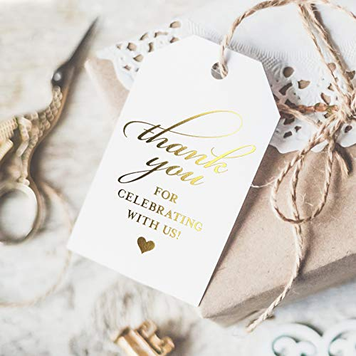 Gold Thank You Tags — Perfect for: Wedding Favors, Baby Shower, Bridal Shower, Birthday or Special Event — 50 Pack from Bliss Paper Boutique ()