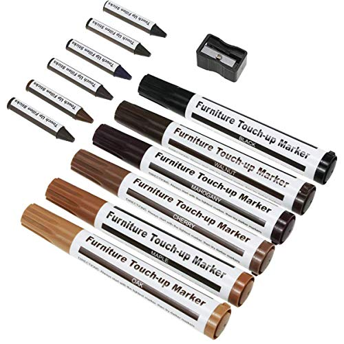 TruWire Furniture Repair Markers and Wax Sticks with Sharpener for Stains, Scratches, Wood Floor, Tables, Desks, Maple, Oak, Cherry, Walnut, Black, Mahogany