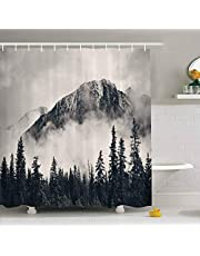 """Canadian Smoky Mountain Cliff Outdoor Idyllic Photo Art Shower Curtain, National Parks Home Decor Curtain, Waterproof Polyester Fabric Bathroom Shower Curtain with Hooks 72"""" x 72"""""""