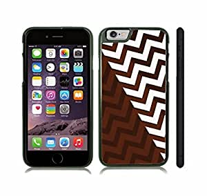 iStar Cases? iPhone 6 Plus Case with Chevron Pattern White/ Brown Stripe , Snap-on Cover, Hard Carrying Case (Black)