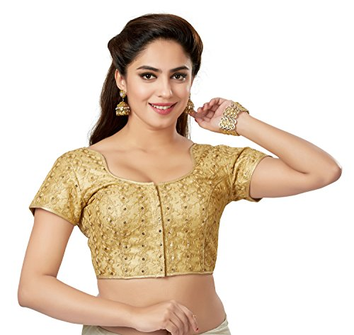 (TrendyFashionMall Readymade Embellished Sequin Work Saree Blouse Gold-01-S-38)