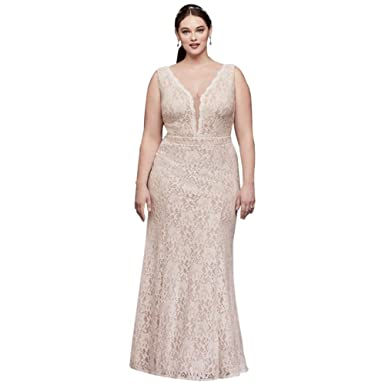 Davids Bridal V Neck Lace Sheath Plus Size Wedding Dress Style