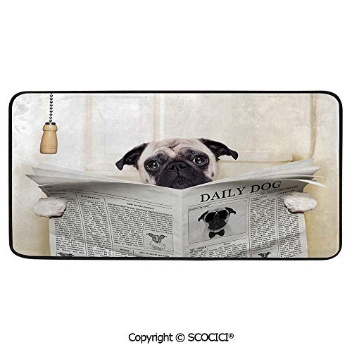 Puppys Playhouse - Soft Long Rug Rectangular Area mat for Bedroom Baby Room Decor Round Playhouse Carpet,Pug,Puppy Reading The Newspaper on The Toilet Bathroom Funny Image,39
