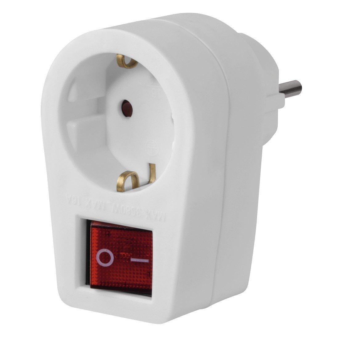 Hama 3-fach Steckdosenadapter (Multistecker 2x Euro-/1x Schutzkontakt Steckdose, Mehrfachstecker) Weiß 00047688 Kabel