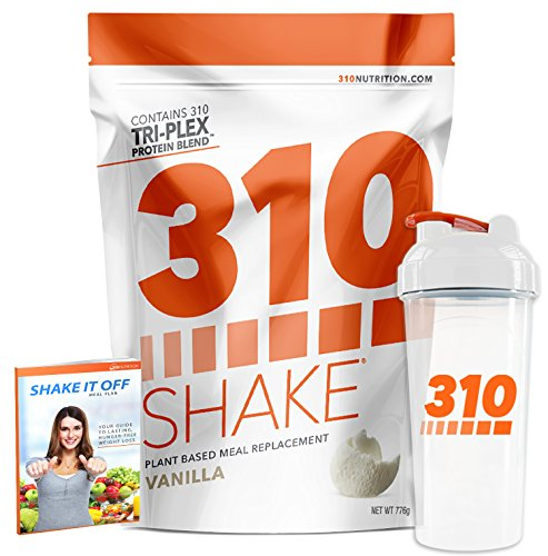 Vanilla Meal Replacement | 310 Shake Protein Powder is Gluten and Dairy Free, Soy Protein and Sugar Free | Includes Clear 310 Shaker and Free Recipe eBook (Digital) | 28 Servings