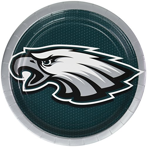 Amscan Philadelphia Eagles Lunch Plates NFL Football Sports Party Disposable Tableware, Paper, 9
