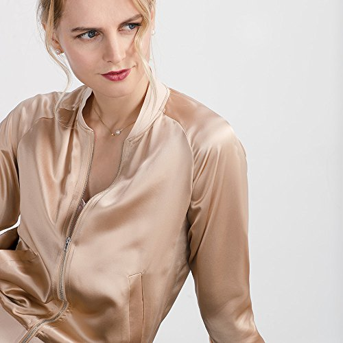 LilySilk Silk Jacket Women Bomber Pure Mulberry 22MM Insanely Comfortable Zipper Long Sleeve Baseball Style Light Camel L/12 by LilySilk (Image #6)