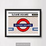 LONDON UNDERGROUND SLOANE SQUARE ART PRINT POSTER Tube Station Sign Train Railway British Urban City Metro Subway Decor A4 A3 A2 (10 Size Options)