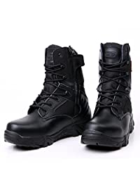 Dopievel Men's Tac Force Military Tactical Duty Work Boot With Zipper Outdoor Hiking Boots Tactical Boots