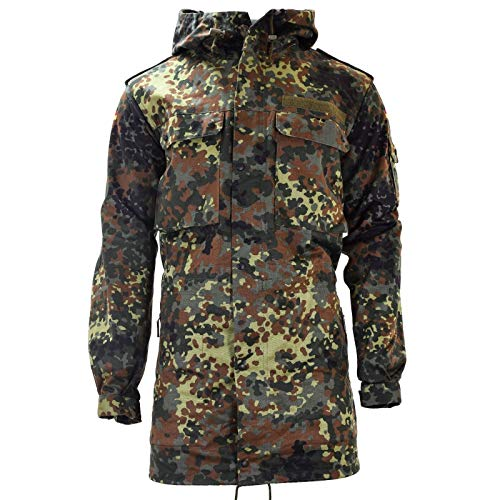 Original German Army Field Jacket Parka Military Issue Hooded Flecktarn Combat (Large Regular)
