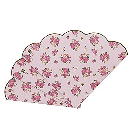 Talking Tables Truly Scrumptious Scalloped Floral Paper Table Napkins for a Tea Party, Pink (40 Pack)]()
