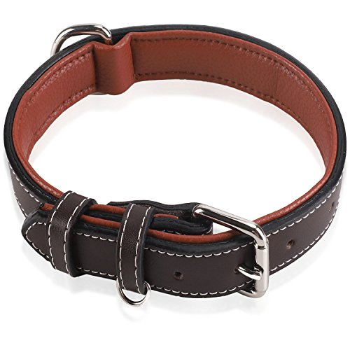 Epic Rogue Heavy Duty Leather Dog Collars, Soft Padded Genuine Leather, Training Collar, Premier Pet Collar for Large Medium Female and Male Dogs(Neck 14''-18'', Brown, Large) - 18' Nylon Collar