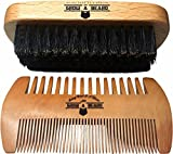 Beard Brush and Comb Set for Men - Friendly Gift Box And Cotton Bag - Best Bamboo Beard Kit for Home and Travel - Great for Dry or Wet Beards - Adds Shine and Softness to Your Healthy and Cool Beard.