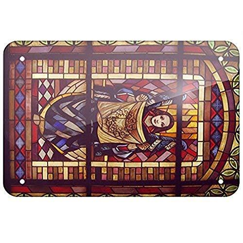 Joycenie Metal Sign Religious Stained Glass Windows Notre Dame de Paris Tin Sign 8x12 Inch