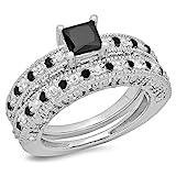 1.80 Carat (ctw) Sterling Silver Princess & Round Diamond Bridal Vintage Engagement Ring Set (Size 7)