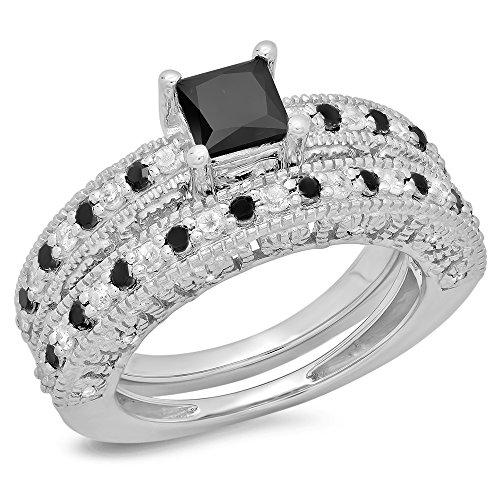 180-Carat-ctw-Sterling-Silver-Princess-Round-Cut-Diamond-Ladies-Bridal-Vintage-Engagement-Ring-Set