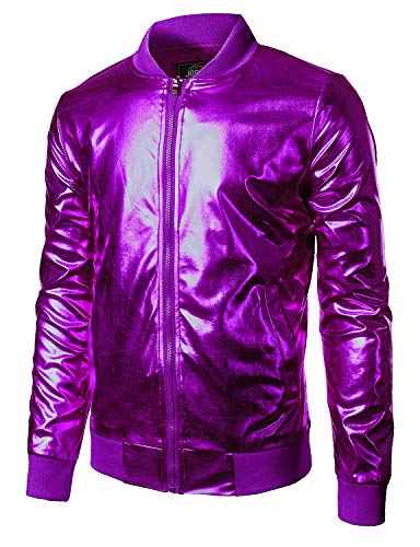 (JOGAL Men's Metallic Nightclub Styles Zip Up Baseball Bomber Jacket Large Purple)