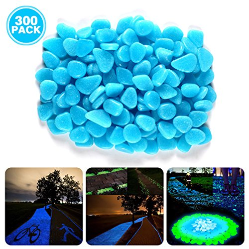 Besiva Glow in the Dark Pebbles, 300PCS Outside Bulk Glow Stones Rocks for Outdoor Fairy Garden, Walkways, Driveway, Path, Fish Tank Aquarium DIY Decorations Gravel