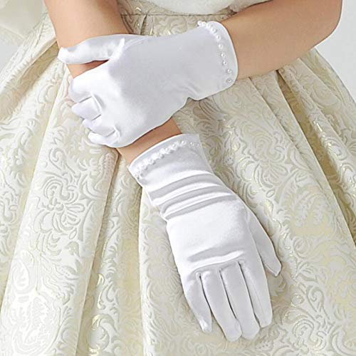 Culturemart s Gift White Elastic Girls Formal Etiquette Gloves Pearl Short Lace Bow Halloween Christmas ren Princess Dance Glove]()