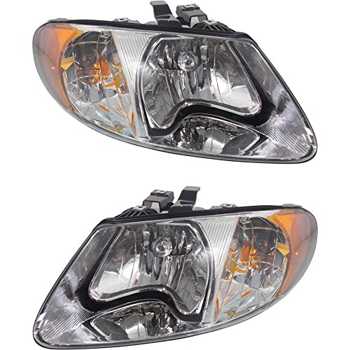 Headlight Set Of 2 For Caravan 01-07 Right and Left Side Assembly Halogen W/Turn Signal Light Bulb