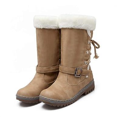 bastante agradable cd5ae fb996 ❤️ Botas de Nieve de Las Mujeres, Clásicos Botas de Nieve de Las Mujeres  Tacones Planos de Moda Zapatos de Invierno Botas de Piel Caliente Además de  ...