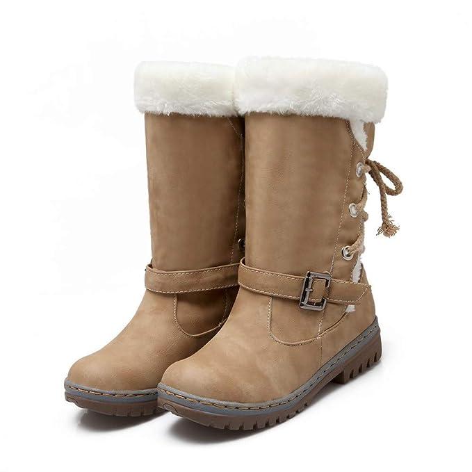 ... Clásicos Botas de Nieve de Las Mujeres Tacones Planos de Moda Zapatos de Invierno Botas de Piel Caliente Además de Terciopelo Absolute: Amazon.es: Ropa ...