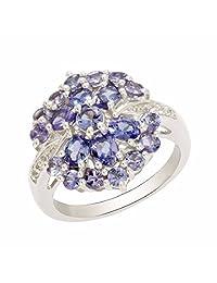 Shine Jewel 925 sterling silver tanzanite floral wedding ring