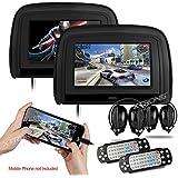 XTRONS Black 29 HD Digital Widescreen Twin Car Headrest DVD Player 1080P Video with HDMI Input IR transmitter and FM Transmitter&IR Headphones Included