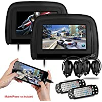 XTRONS Black 29 HD Digital Widescreen Twin Car Headrest DVD Player 1080P Video with HDMI Input IR transmitter and FM Transmitter&IR Headphones Included