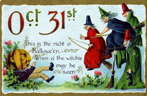 Vintage Halloween Poster Made From Circa 1910 Postcard October 31st Pumpkin Man Witchie May Be Seen Flying Witches 18