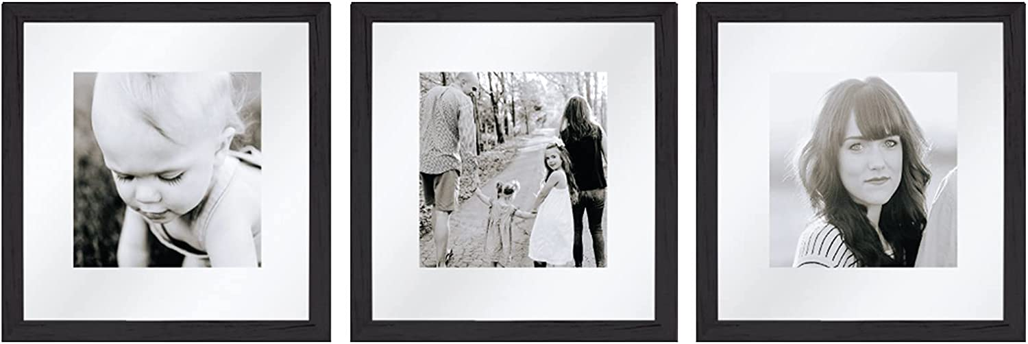 Sheffield Home Decor Collection- 3 Piece Picture Frame Set, Gallery Set, 12x12in, Floating to 8x8in (Black)
