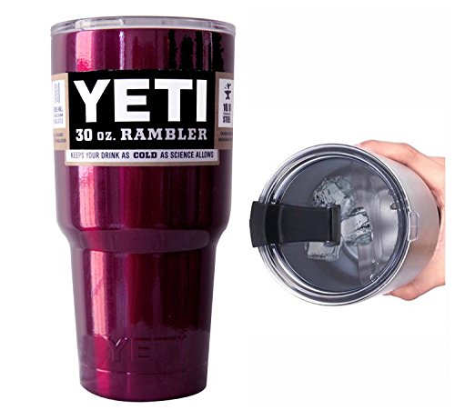 YETI Coolers 30 Ounce (30oz) (30 oz) Custom Rambler Tumbler Cup Mug with Exclusive Spill Resistant Lid (Cranberry Purple)