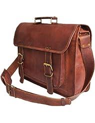 16 inch Leather Messenger Crossbody Briefcase Satchel Gift Men Women Laptop Bag