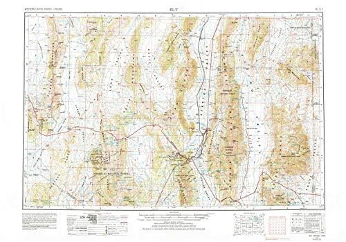 YellowMaps Ely NV topo map, 1:250000 Scale, 1 X 2 Degree, Historical, 1956, Updated 1980, 22.4 x 32.1 in - Paper ()