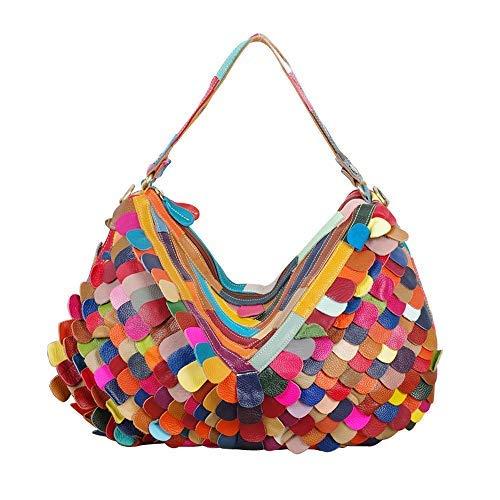 Vegasking Oversized Genuine Leather Scale Tote Satchel Handbag with Top ()