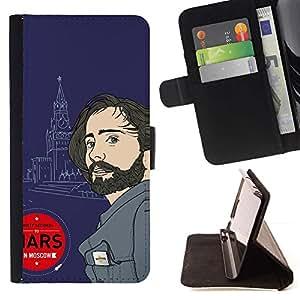 Momo Phone Case / Flip Funda de Cuero Case Cover - Marte Moscú Rusia vegano atractivo hombre de la música - HTC One M7