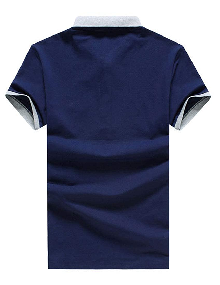 FirH Mens Solid Color Short Sleeve Classic Version Tops T Shirts Slim Polo Shirt