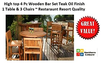 4 PC OUTDOOR PATIO BAR SET HIGH TOP TABLE CHAIRS TEAK OIL FINISH RESORT  RESTARAUNT QUALITY Part 94
