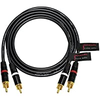 3.5 Foot RCA Cable Pair - Made with Canare L-4E6S, Star Quad, Audio Interconnect Cable and Neutrik-Rean NYS Gold RCA Connectors - Directional Design - CUSTOM MADE By WORLDS BEST CABLES